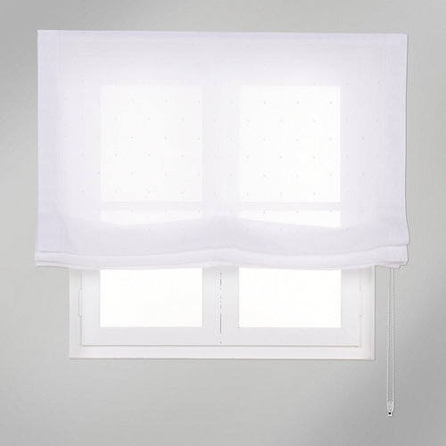 Estor plegable blanco topos 105x250 cm