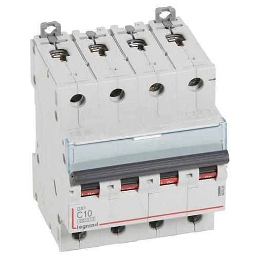 Interruptor magnetotérmico tetrapolar legrand de 10a con 4 módulos