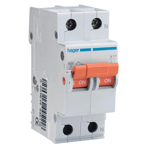 Interruptor magnetotérmico unipolar + neutro hager de 16a con 2 módulos