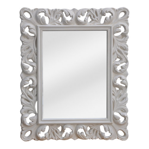Espejo rectangular distressed crema 108 x 88 cm