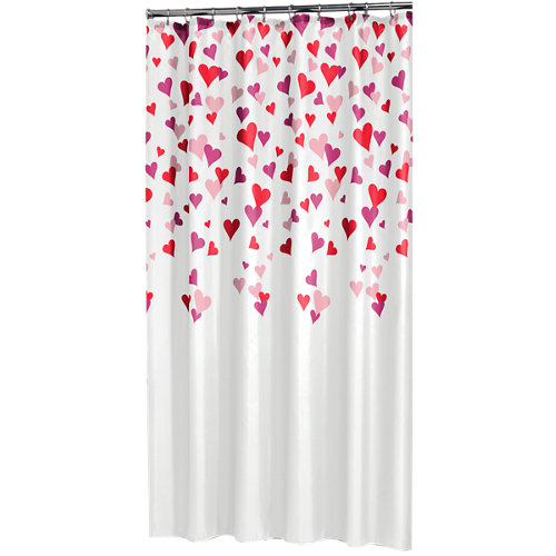 Cortina baño cuori rosa peva 180x200 cm