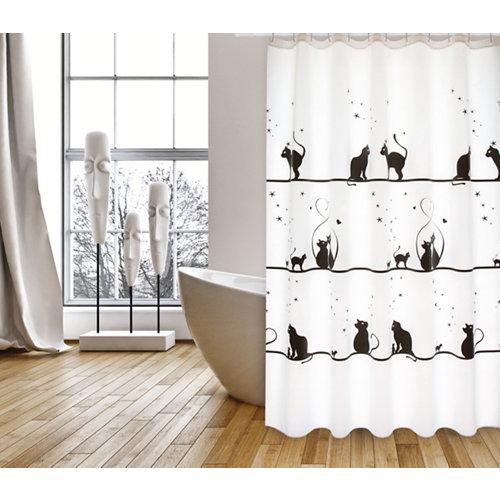 Cortina baño gatitos blanco poliéster 180x200 cm
