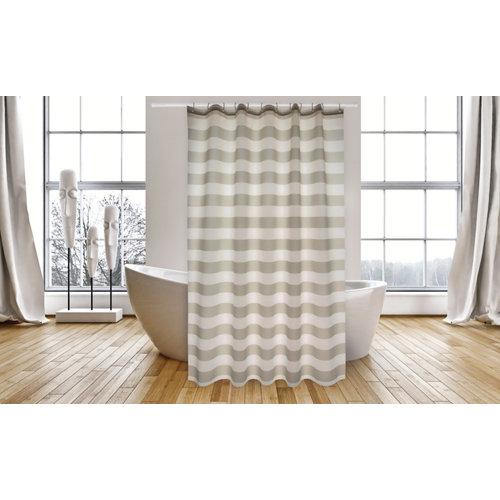 Cortina de baño marinera gris poliéster 180x200 cm