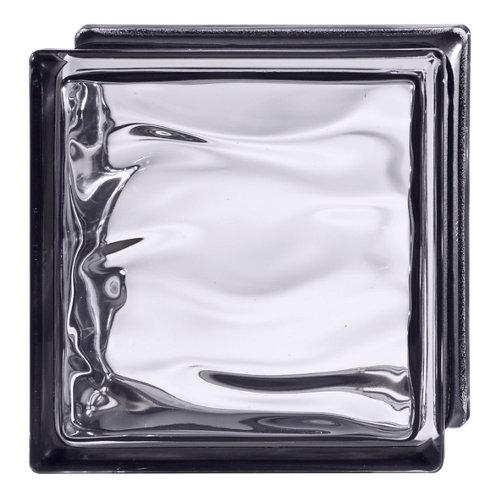 Bloque de vidrio ondulado negro 19x19x8 cm