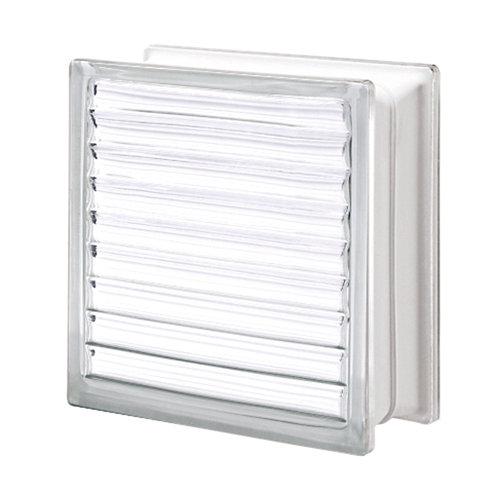 Bloque de vidrio cuadriculado neutro ps 19x19x8 cm