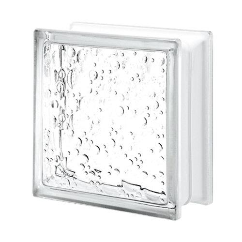 Bloque de vidrio con burbujas neutro 19x19x8 cm
