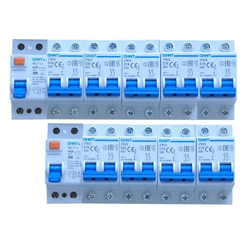 Pack de 9 automáticos magnetotérmicos + diferencial chint