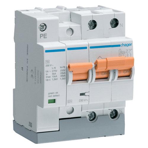 Interruptor magnetotérmico tetrapolar hager 63 a con 4 módulos