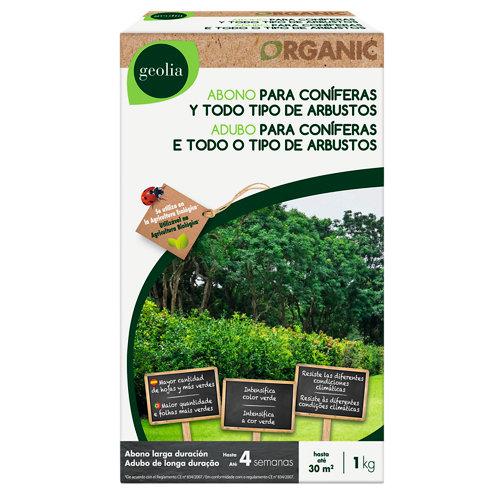 Abono para coníferas geolia para uso ecológico 1kg