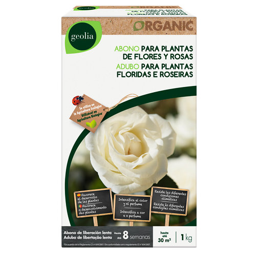 Abono para plantas de flor, rosas geolia para uso ecológico 1kg