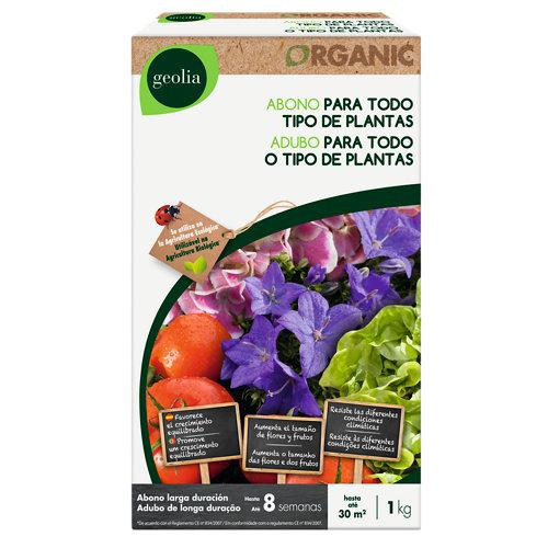 Abono universal geolia para todo tipo de plantas, uso ecológico 1kg