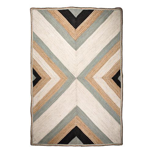 Alfombra multicolor yute yute azulejo 160 x 230cm
