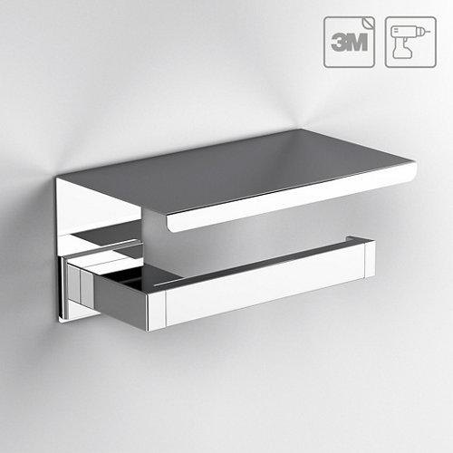 Portarollo wc kubo gris / plata brillante 14.9x7.9x10.5 cm