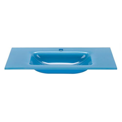 Encimera lavabo encimera cristal azul de 81x15x46 cm