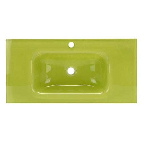 Encimera lavabo encimera cristal verde de 101x15x46 cm
