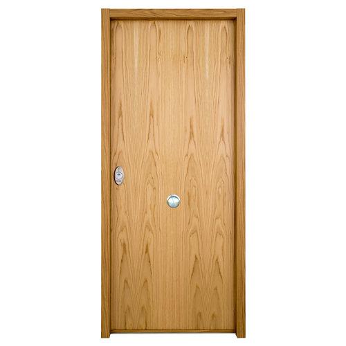 Puerta de entrada acorazada serie v lisa derecha roble/roble de 89x206 cm