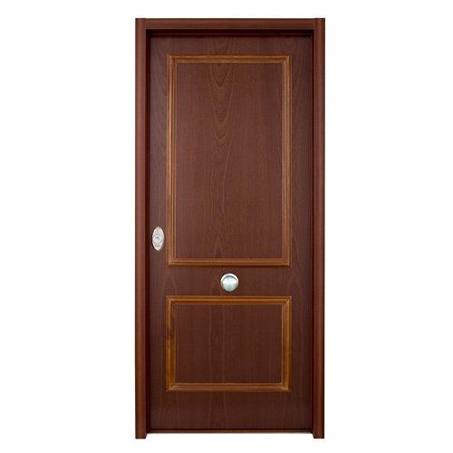 Puerta de entrada acorazada serie v 2 cuadros derecha sapelli/blanco de 206x89cm