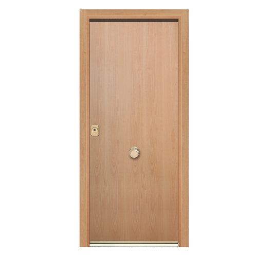 Puerta de entrada acorazada 400 lisa derecha haya/haya de 90.3x208 cm