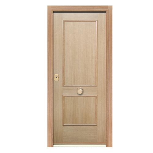 Puerta de entrada acorazada 400 2 cuadros derecha roble/roble de 90.3x208 cm
