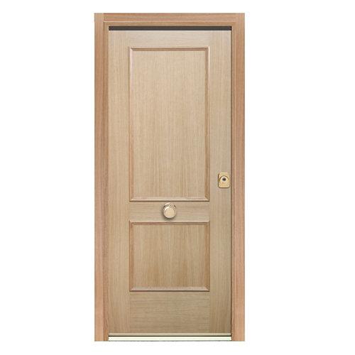Puerta de entrada acorazada 400 2 cuadros izquierda roble/blanco de 90.3x208 cm