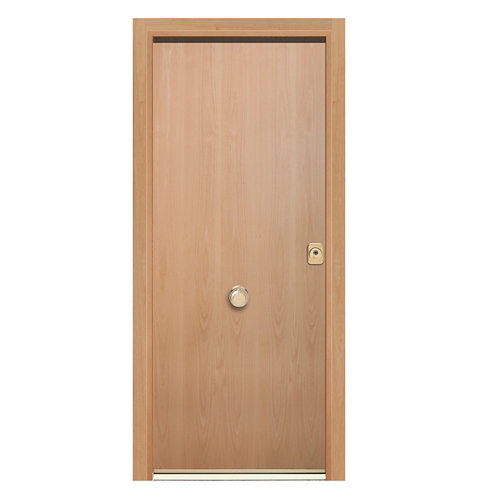 Puerta de entrada acorazada lisa 300 izquierda haya/haya de 208x92 cm