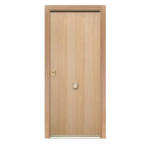 Puerta de entrada acorazada lisa 300 derecha roble/blanco de 90.3x208 cm