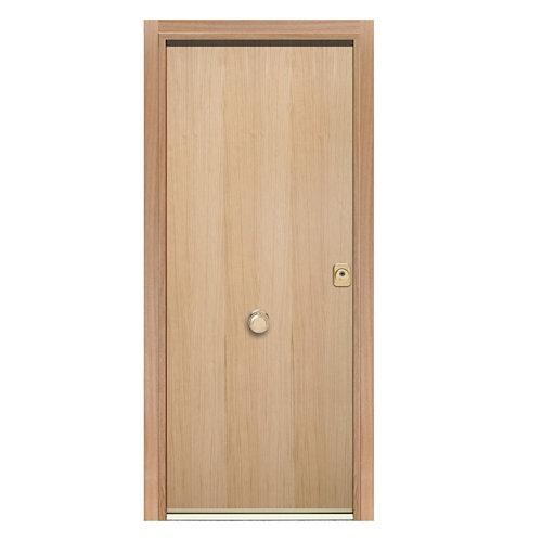Puerta de entrada acorazada 400 lisa izquierda roble/roble de 90.3x208 cm