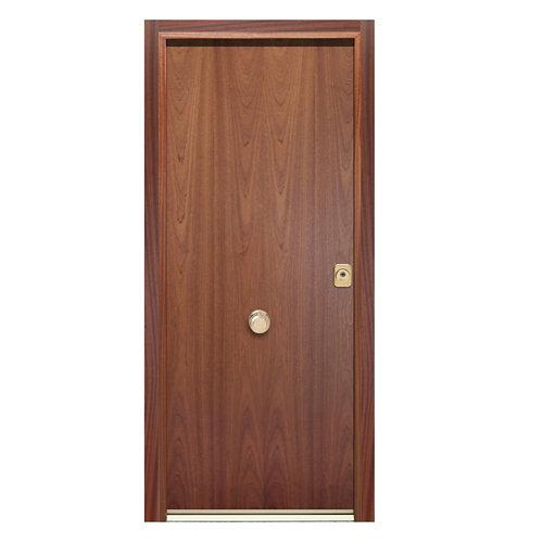 Puerta de entrada acorazada 400 lisa izquierda sapelly/blanco de 90.3x208 cm