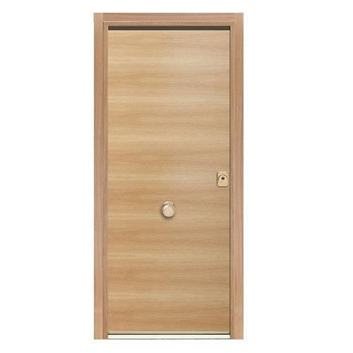 Puerta de entrada acorazada 400 lisa izquierda roble/blanco de 90.3x208 cm