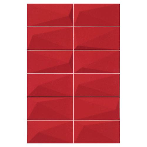 Baldosas murales diamond de gres pasta roja rojo