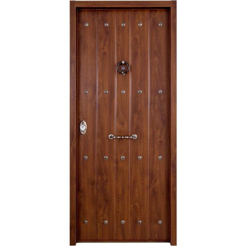 Puerta de entrada acorazada rústica nogal derecha de 89x206 cm