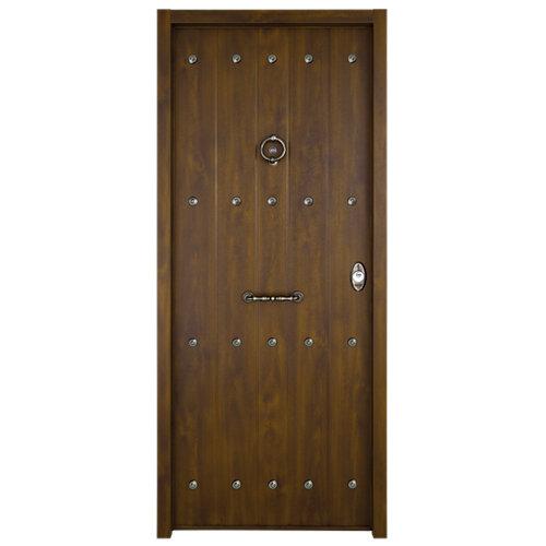Puerta de entrada acorazada rústica nogal izquierda de 90x210 cm