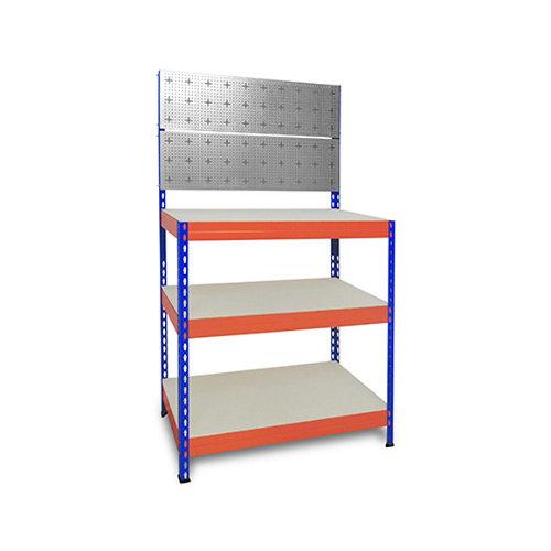 Banco de trabajo 160x100x50cm azul y naranja s/t.3b.300kg