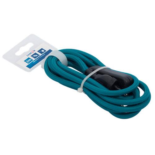Prolongador de cable textil azul h03vvh2-f con 2 mt