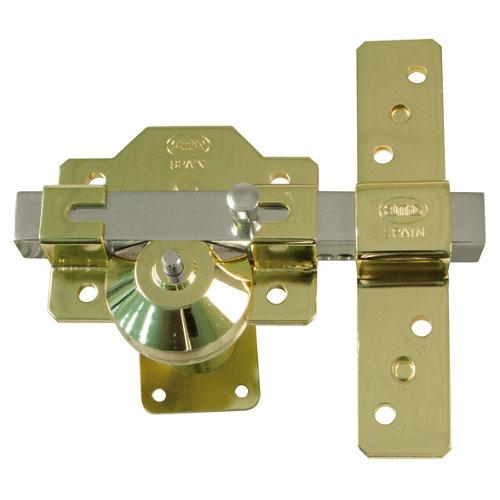 Cerrojo de seguridad botón/llave de 32 mm ancho dorado