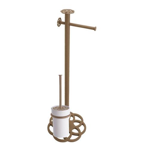 Escobillero y portarollo mandala acero 17.7 x64.6 cm