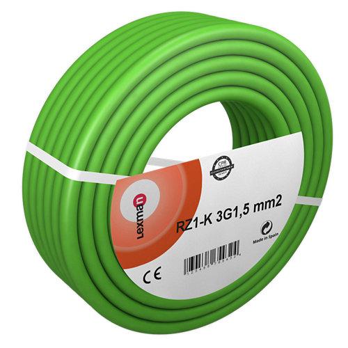 Manguera lexman rz1-k verde 3x1,5 mm² 50 m