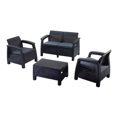 Set de sofás y mesa baja corfú de plástico para 4 personas