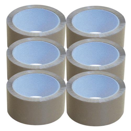 Pack de 6 cintas adhesiva marrón 5 cm x 66 m