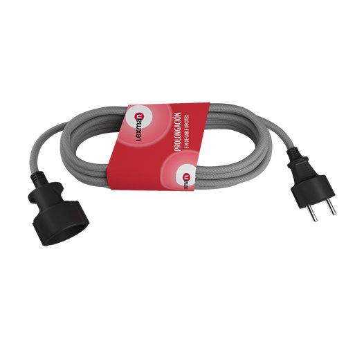 Prolongador de 3m cable textil lexman gris 3x1,5 mm²