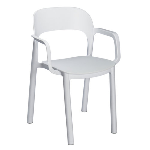 Silla resina resol con brazos ona blanco asiento blanco