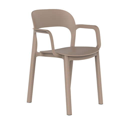Silla resina resol con brazos ona color arena asiento arena