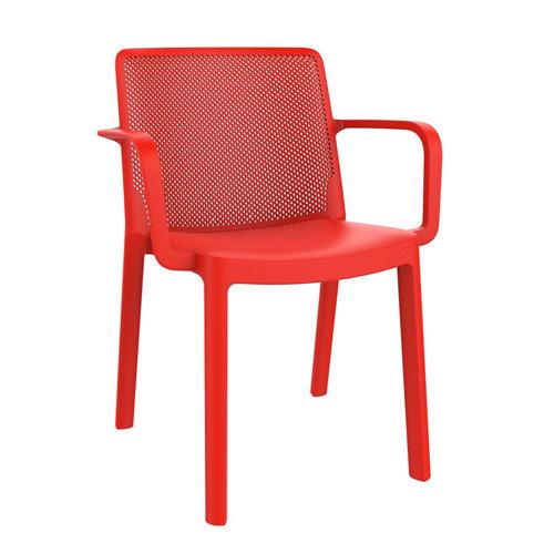 Silla de resina con brazos resol fresh color roja