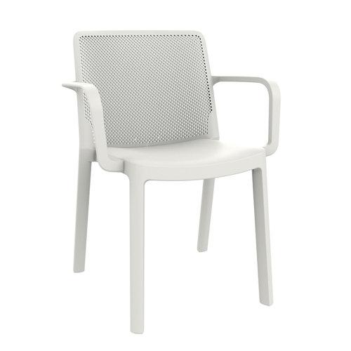 Silla de resina con brazos resol fresh color blanca
