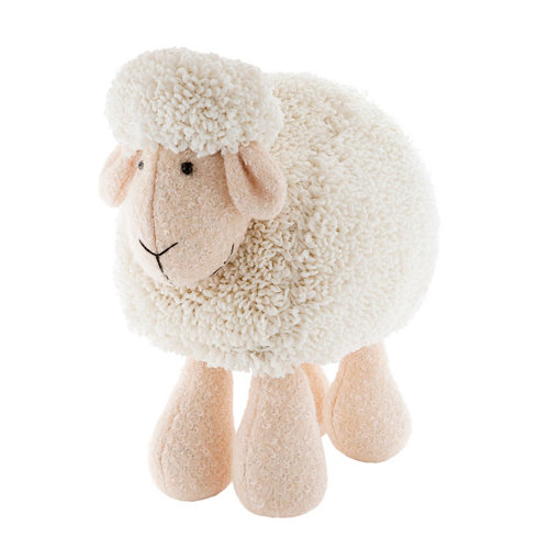Figura navideña oveja blanco y beige 26 cm