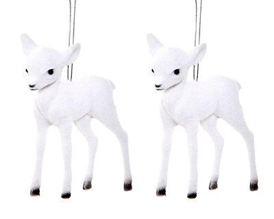 Set de 2 renos blancos 7,5 cm