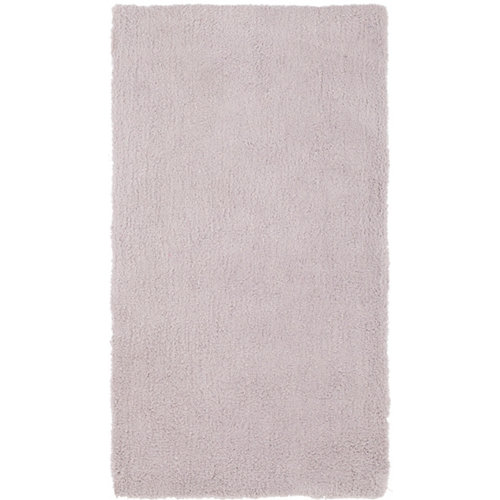 Alfombra pie de cama gris poliéster shanghai liso 60 x 110cm