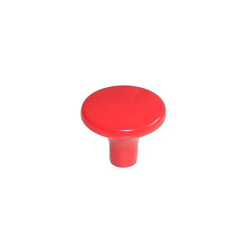 Pomo fabricado en plástico rojo, medidas: 33x27mm