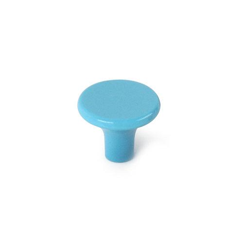 Pomo fabricado en plástico azul celeste, medidas: 33x27mm