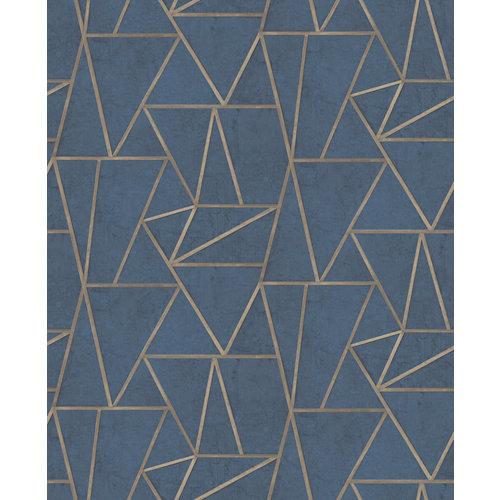 Papel geométrico azul 5,3 m²